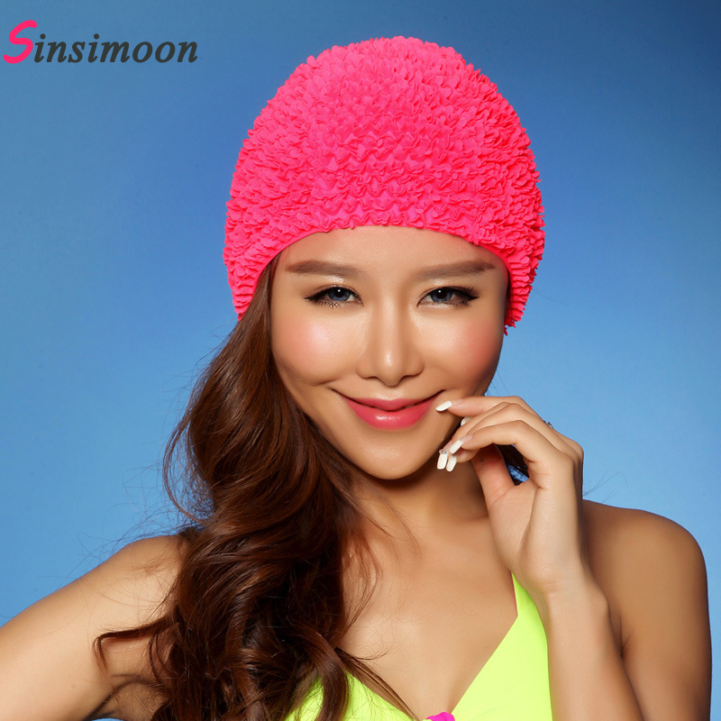 Sexy New Flower Women Swim Cap 2017 Hot Sale Swimming Hat for Long Hair Solid 3D Floral Swiming Caps for Girl Female Free Size(China (Mainland))