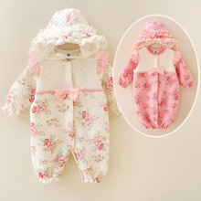 Newborn baby girl clothes 2016 new thicken princess formal dress infant bebe outfit clothing children jumpsuit baby rompers(China (Mainland))