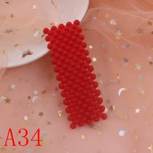 2019 NEW fashion geometric triangle small pink gray orange 6 colors pearl girls hair clips women barrettes b b long 75mm 1pcs(China)
