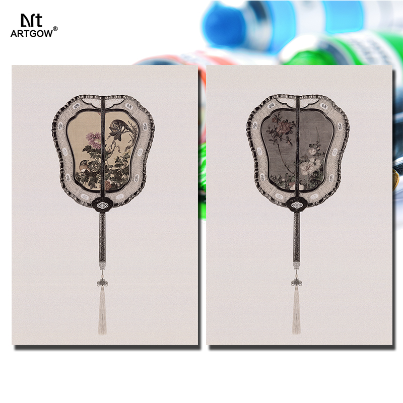 2pcs Chinese tassel fan Still life flowers Picture decoration canvas painting wall Art living room printed home decor unframed(China (Mainland))