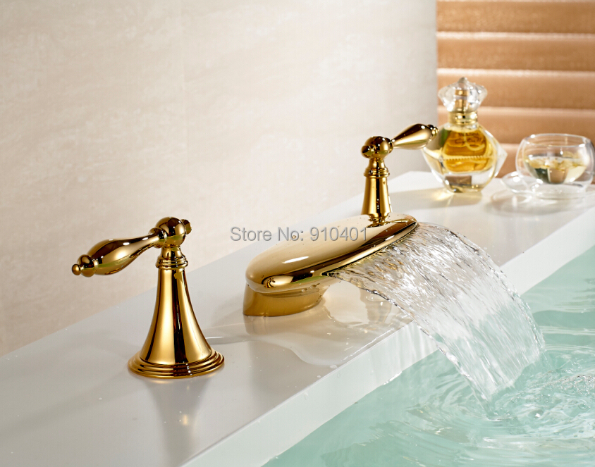 "Hot Sale Wholesale And Retail Promotion Widespread 8"" Golden Brass Bathroom Basin Faucet Dual Handles Vanity Sink Mixer Tap(China (Mainland))"