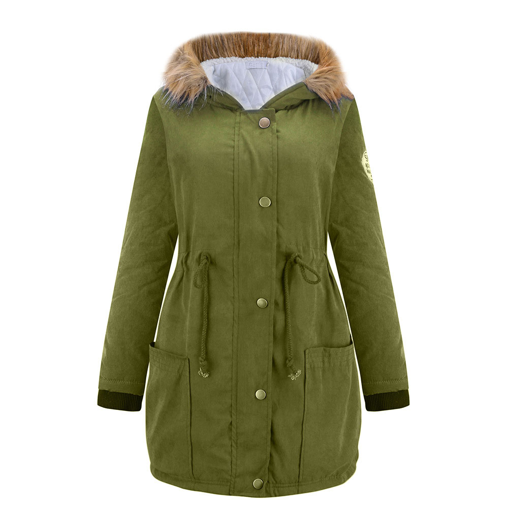 Popular Girls Green Parka Coat with Fur Hood and Patches-Buy Cheap