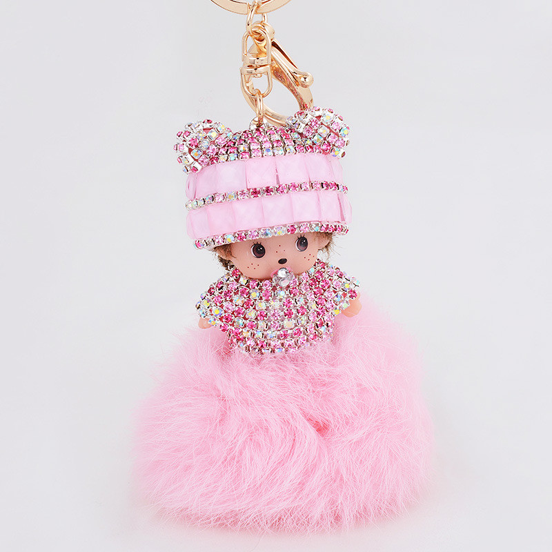 Monchichi Keychain Rabbit Fur Pom Pom Cute Rhinestone Monchichi Dolls Pompom Key Chain Women Bag Car Charm Pendant SMT-0044(China (Mainland))
