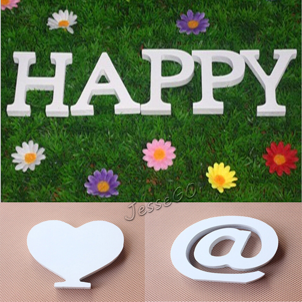 8cmX1.2cm Thick Wood Wooden White Letters Alphabet Wedding Birthday Home Decor 26 Letters Crafts(China (Mainland))