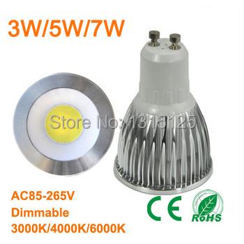 10pcs Ultra Bright Dimmable 110V/ 220V Led COB spotlight, GU10 3W 5W 7W Led Bulb lamps Energy Saving lighting +Free Shipping(China (Mainland))