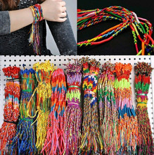 50pcs/lot Wholesale Rainbow Silk Macrame Hand-weave Braid Friendship Cords Strand Bracelet Anklets(China (Mainland))