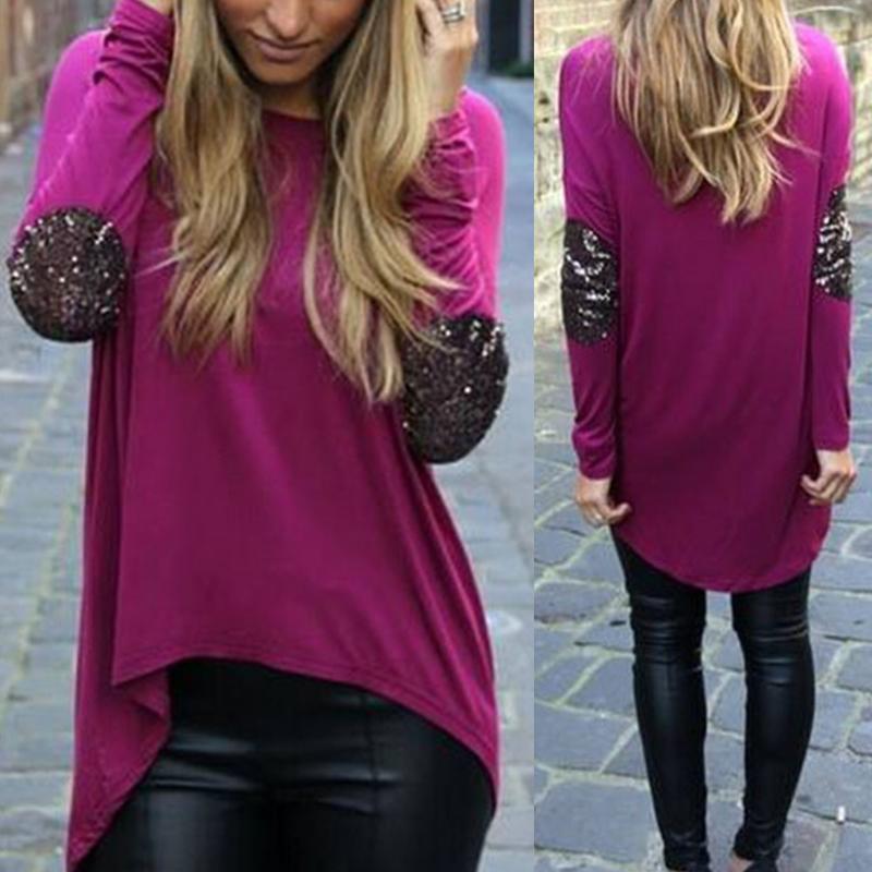 New Women Shirt fashion Sequins Irregular shirt long sleeve tops for women *30