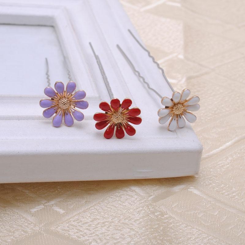 2pieces/lot Alloy Daisy Flower Wedding Bridal Hair Pins Hair Clips Bridesmaid Jewelry hairpin women hair accessory(China (Mainland))