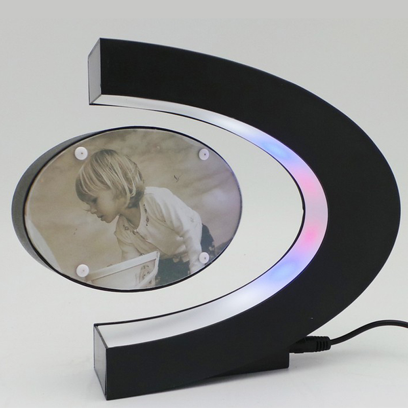 C Shape Electronic Magnetic Levitation Floating Photo Frame with LED Lights Novelty Gift Home Decoration Pictures Frames 2016(China (Mainland))