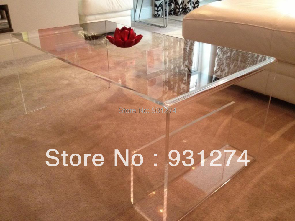 ONE LUX Waterfall Large Clear Acrylic Coffee Tea Table/ Lucite Magazine Table/Perspex Side Table(China (Mainland))