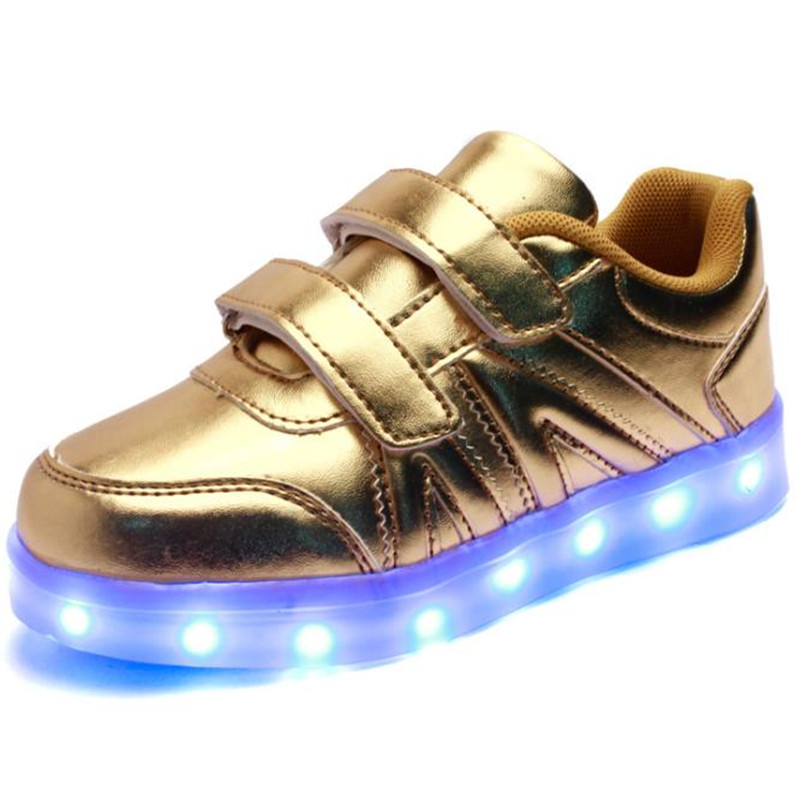 2016 Spring and summer children fashion sneakers LED light luminous lamp usb children shoe flat heel casual sports kids shoes(China (Mainland))