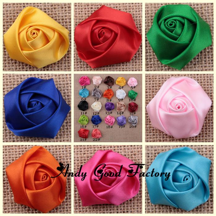 1.6inch Mini Fabric Satin Rose Flowers Headdress Flowers for Baby Headbands Girls Hair Accessories 500pcs FL095(China (Mainland))