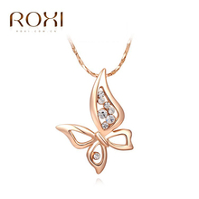 ROXI New Christmas Gift Butterfly PENDANT Fashion Rose Gold Plated Chain Calabash Sales Lucky NECKLACE for Party Jewelry(China (Mainland))