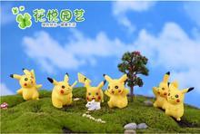 Pikachu 6pcs 1 Set fairy garden miniatures Craft Micro Cottage Landscape Decoration DIY Resin Craft Decoration, free shipping