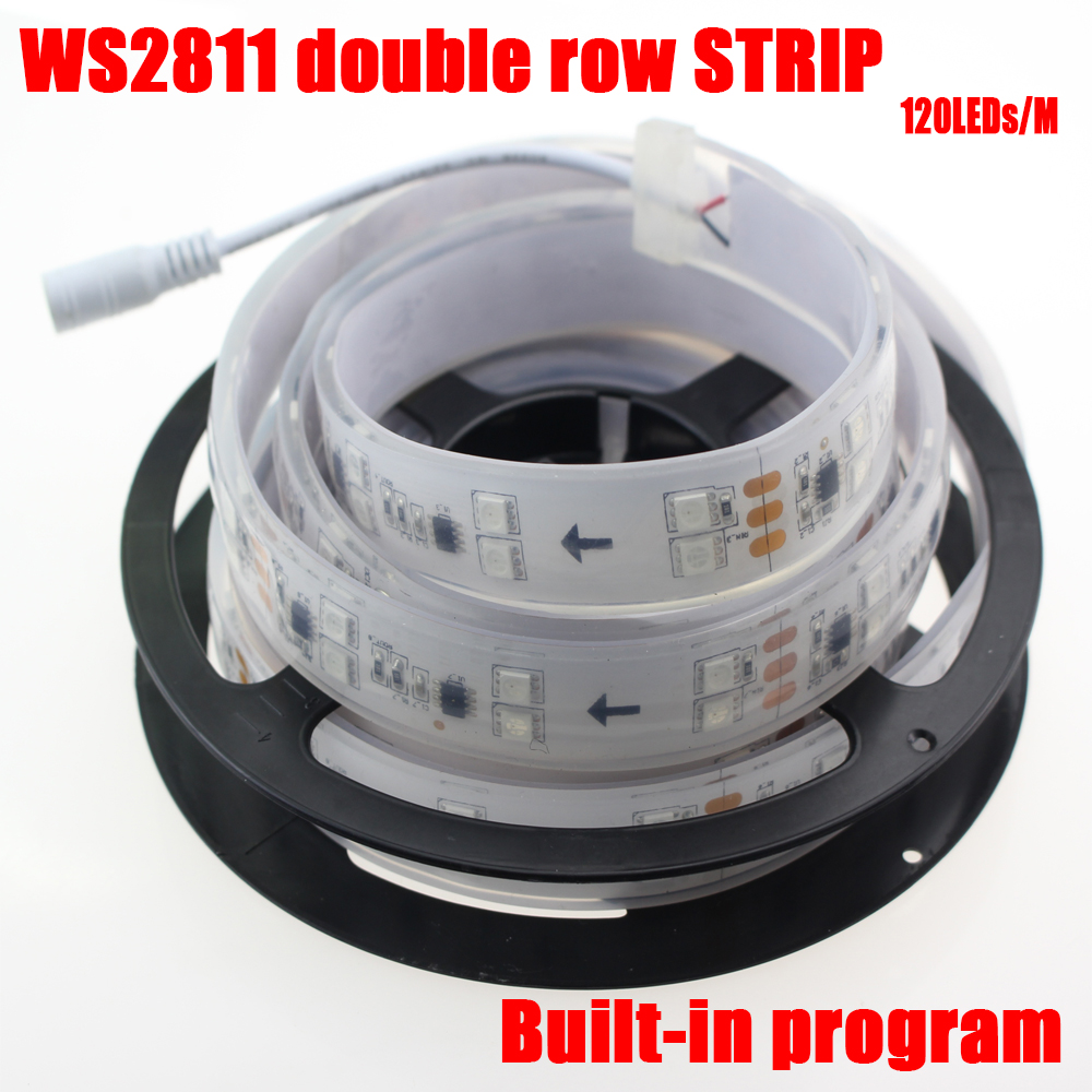 5M/lot IP67 tube waterproof double row led strip ws2811 pixel strip dc12v 120leds/m multicolor not need controller(China (Mainland))