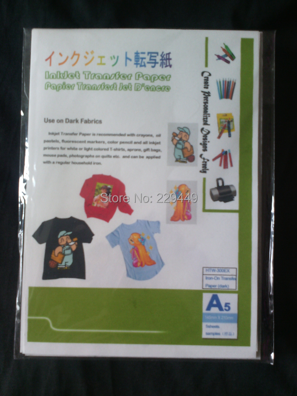 Iron On Transfers Paper!A5*5pcs Inkjet Heat Transfer Paper Dark Color With Heat Press For T shirt Iron-on Paper Transfers(China (Mainland))