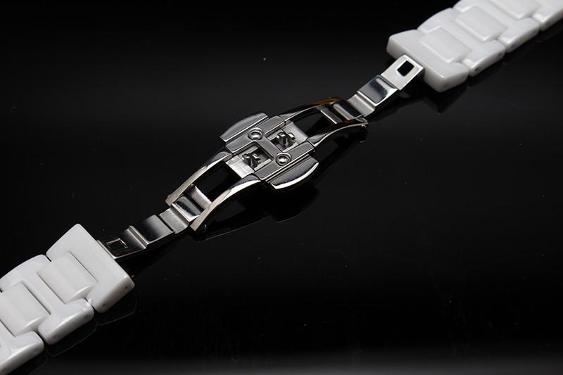 Часовые аксессуары черный белый керамический керамический браслет алмазов часы мужчины и женщины 14 мм 16 мм 18 мм 20 мм Бабочка застежка новый