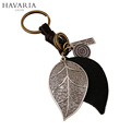 HAVARIA Punk Art Genuine Leather Cut out men women keychain bag pendant Alloy leaves Car key