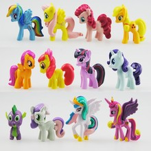 12 pcs/set 3-5cm my cute pvc lovely little horse poni mlp action toy figures dolls for girl birthday christmas gift