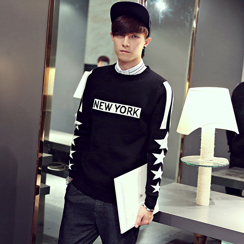 O-Neck Collar Letter Print Men Winter Spring Pullover Wool Sweater For Men Blusas Masculinas High Quality Plus Size M-XXL MSW8