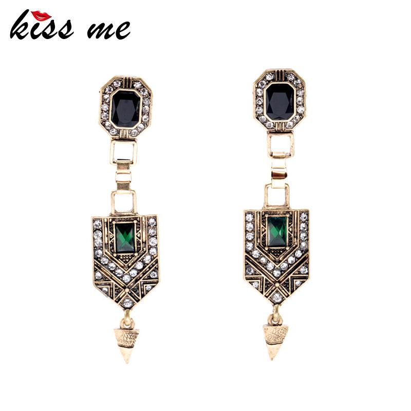 Vintage Jewelry Women New Green Crystal Cone Ear Pendants Long Drop Earrings Factory Wholesale(China (Mainland))