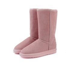 HABUCKN yüksek kar botları kadın kış ayakkabı koyun derisi deri kürk astarlı büyük kızlar uzun yün uyluk kışlık botlar siyah(China)