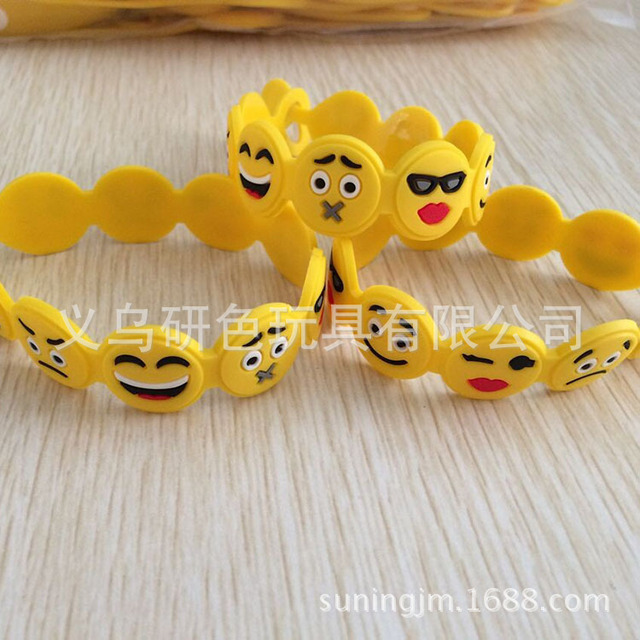 Cute QQ expression expression soft PVC bracelet new bracelet emoji expression package key pendant Toys