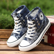 Hot Sale Women Men Shoes Casual Canvas Shoes Woman Fashion Shoes Men High Top Flats Zapatos Mujer Chaussure Homme Black & Blue(China (Mainland))