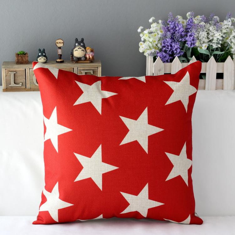 Red Navy Star Cushion Cover Sofa Cotton Linen Pillowcase