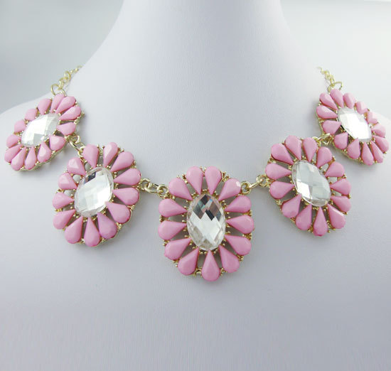 Fashion sweet pink crystal droplets sunflower pendant gold plate necklace decorated gift princess(China (Mainland))