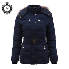 COUTUDI New Arrival Winter Jacket Women Slim Thick Warm Stylish Jacket Coats Lady With Fur Hooded Belt High Quality Down Jackets(China (Mainland))
