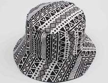 Free Shipping 2015 New Fashion Unisex Women Mens Summer Black And White Geometric Aztec Printed Bucket Hats(China (Mainland))