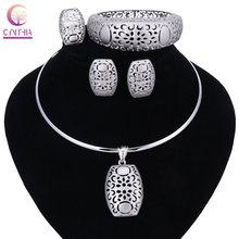 Nigerianischen Hochzeit Afrikanische Perlen Schmuck Sets Silber Farbe Frauen Halsketten Party Mode Blumen Hohl Schmuck Zubehör(China)