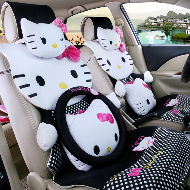 for summer polka dot hello kitty car seat covers full set animal cartoon sedan chairs cover for. Black Bedroom Furniture Sets. Home Design Ideas