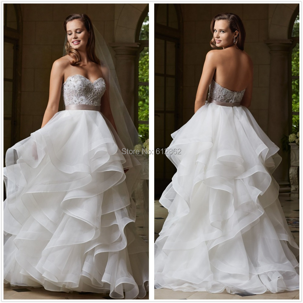 Strapless low back beaded lace bodice ruffle organza skirt for Beaded low back wedding dress