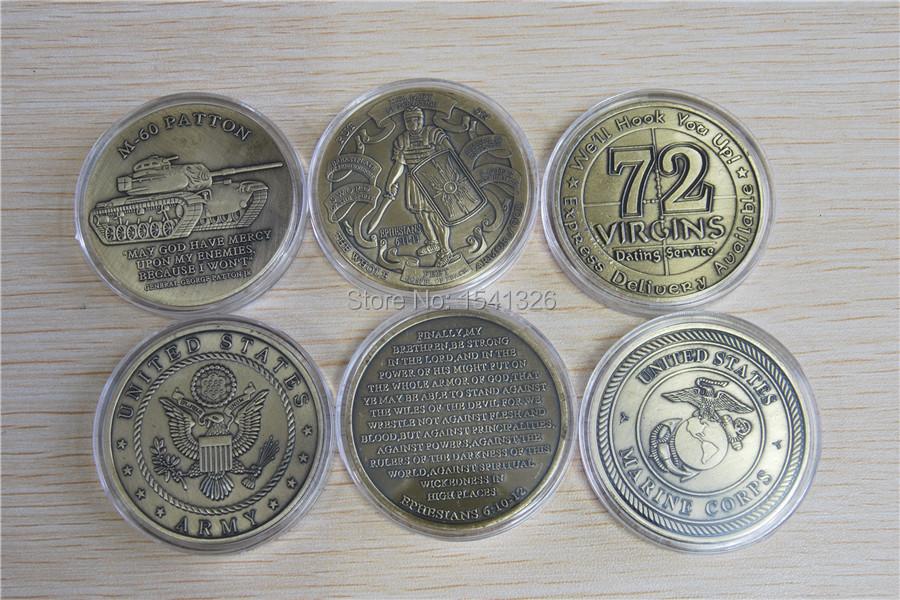 MIix 3pcs Free Shipping ,The Armor Of God Challenge Coin,M - 60 Patton Challenge Coin,72 Virgins Challenge Coin(China (Mainland))