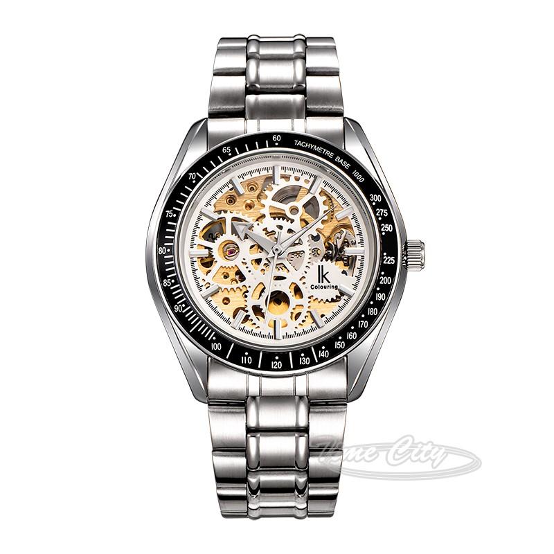 Черный Серебристый Супер Свечение IKcolouring Мужчины Самостоятельная Ветер Автоматические Механические Часы Скелет Hollow Сталь Ремешок Мода Наручные часы