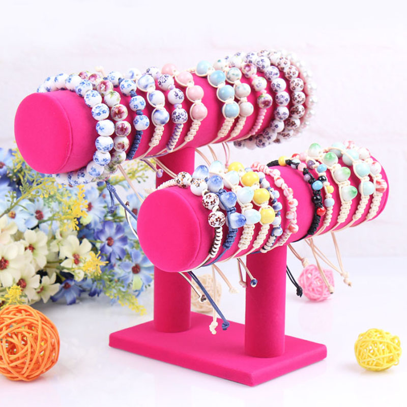 Double Layers Rose Red Bangle Display Shelf Bracelet Holder Rack Watch Stand Frame Jewelry Bangles Display Decoration For Women(China (Mainland))