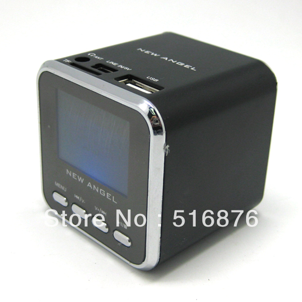 Free Shipping MUSIC ANGEL Mini Speaker For Micro SD/TF USB MP3 MP4 Ipod FM Radio LCD A08 black(China (Mainland))