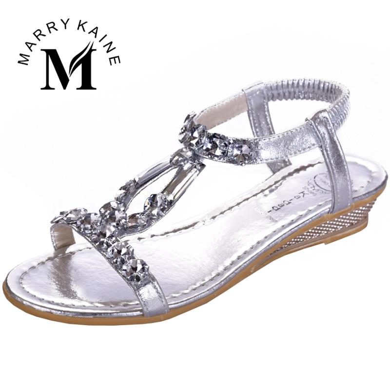 Sexy Women Shoes Bohemia Style Sandals Crystal Flat Shoes Solid Elastic Band Wedges Beach Casual Shoes<br><br>Aliexpress