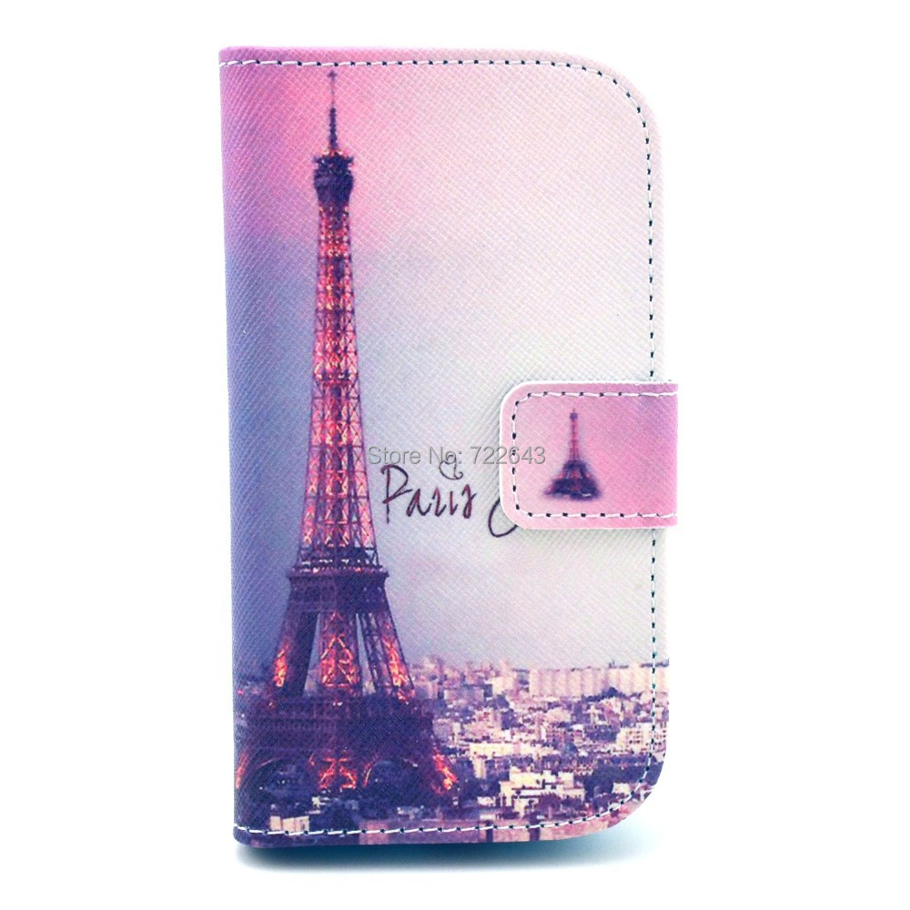 Hot Selling Night Scene Paris Eiffel Tower Magnetic Flip PU Leather Card Stand Case Cover For Samsung Galaxy S3 III Mini I8190(China (Mainland))