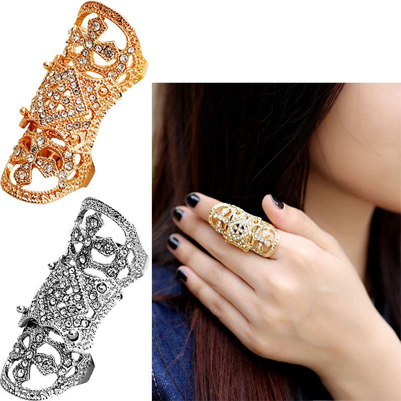 High Heel Shoes Shape Rhinestone Armor Joint Finger Cross Ring For Women Men Punk Hinged Jewelry Best gift Silver Golden(China (Mainland))