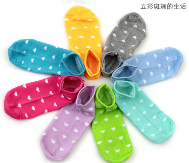 1lot 5pairs 10pieces woman s socks cotton ankle female sock slippers love candy color dot socks