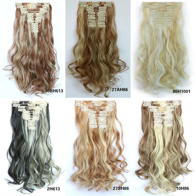 22 Clips On Hair Extension 55cm 22inch 12pcs/set Natural Hairpieces Hair Piece Wavy Curly Synthetic Clip In Hair Extensions<br><br>Aliexpress