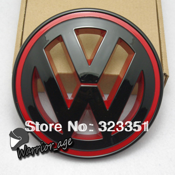 Glossy Black Inner Red Front Grille Emblem Badge Logo For VW JETTA MK5 2005-2010