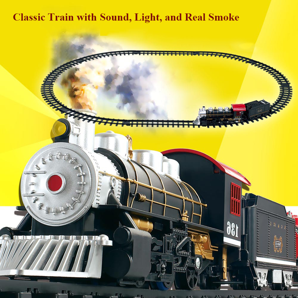 Big Small Size Battery Operated Railway Rail Train Electric Toy Railway Car with Sound&Light&Smoking Rail Car Classic Toys(China (Mainland))