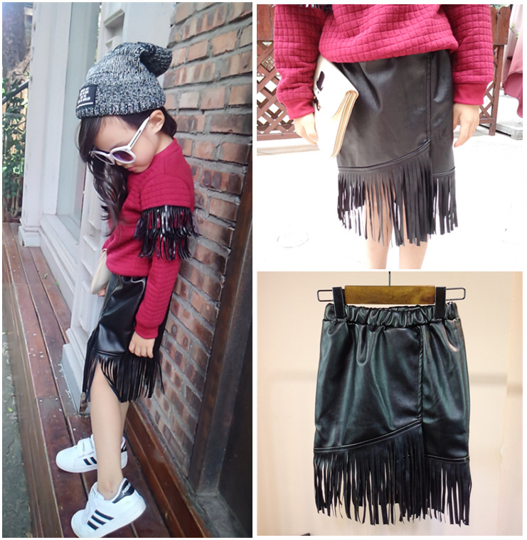 retail new 2015 autumn winter fashion PU tassel girls tutu skirts cool faux leather kids baby suit 2~7 age girl skirt - Annlin clothing store