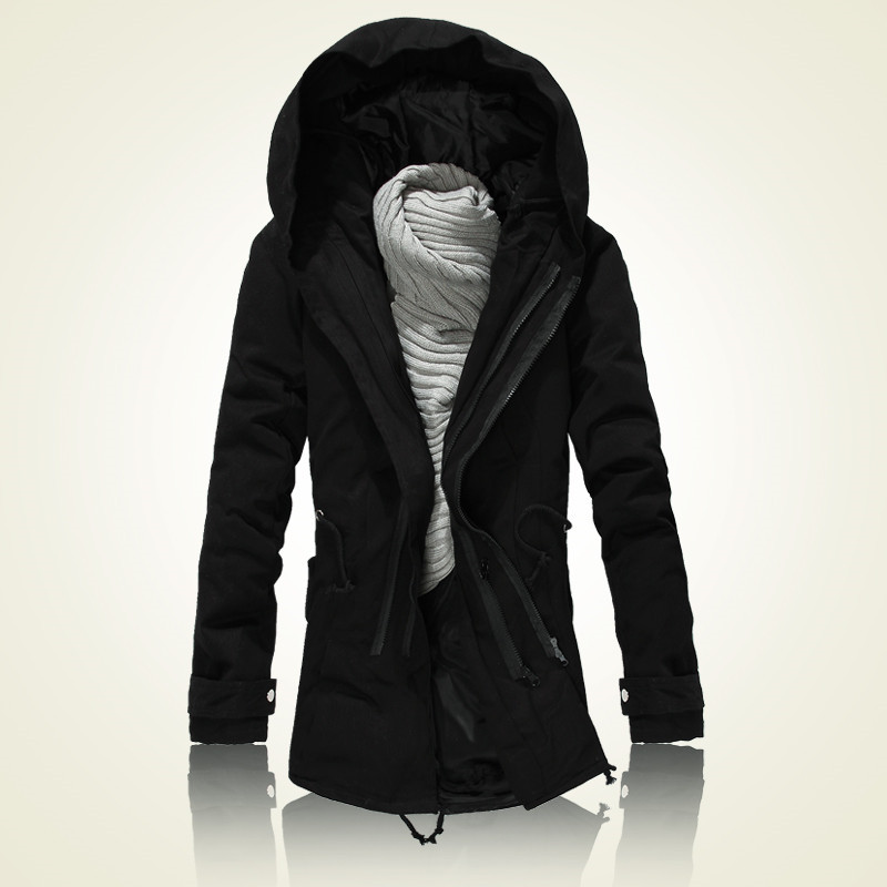 2015 new winter cotton padded clothes men hooded jacket man with thick dust coat black army