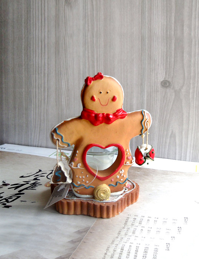 Export Gingerbread Man Doll candle ornaments decorations gift gift Home Furnishing resin(China (Mainland))