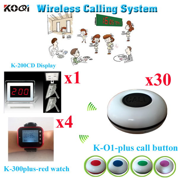 Wireless Restaurant Call System Waiter Server Paging Service -Table Calling Button( 1 display with 4 watch and 30 buzzer)(China (Mainland))